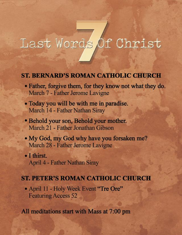 Lenten Retreat Poster Schedule of Events